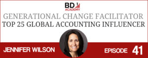 jennifer wilson on the BD Academy Accounting Influencers podcast with Rob Brown